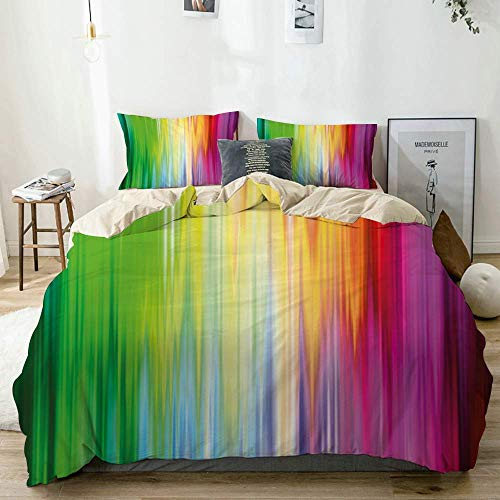 Duvet Cover Set Beige,Abstract Colors Looking Like Flowing into one Another Rainbow Color,Decorative 3 Piece Bedding Set with 2 Pillow Shams