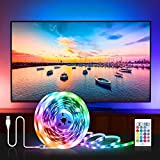 USB Striscia LED TV Retroilluminazione 2M, Besvic Musica Sync RGB LED Striscia con Telecomando, Luci LED per TV 32-55 Pollici, 16 Colori e 4 Modalità Dimmerabile Strisce LED Strip per PC Monitor