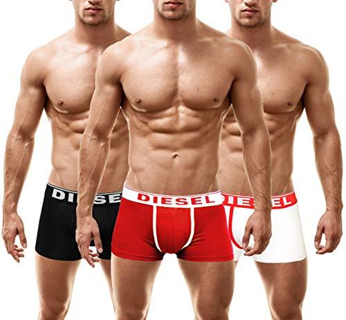 Diesel Herren DAMIEN 3 Pack Boxershorts Männer Unterhosen (Large, Multi-WHITE)