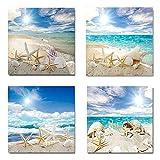 4 unids/set arte de pared lienzo de impresión moderna pinturas mar playa concha estrella de mar imágenes de pared para decoración del hogar 2Marco integrado de 50 * 50 cm