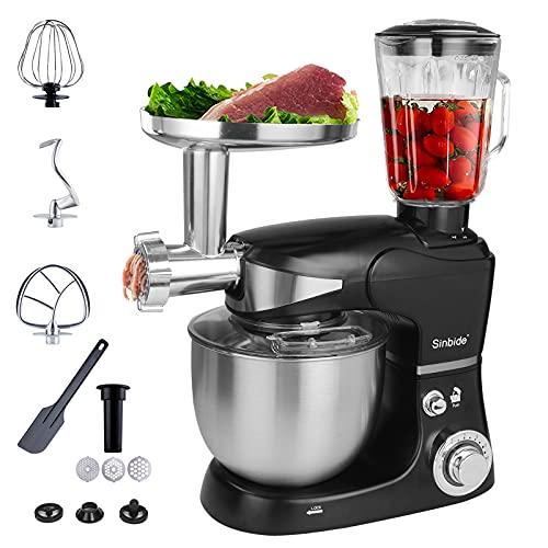 Sinbide 3 en 1 Robot de Cocina 1300W Máquina Procesador de Alimento Multifuncional, Batidora Amasadora de Repostería en 6 Niveles, Picadora de Carne Eléctrica, Batidora de Vaso Fruta Verdura Mixer