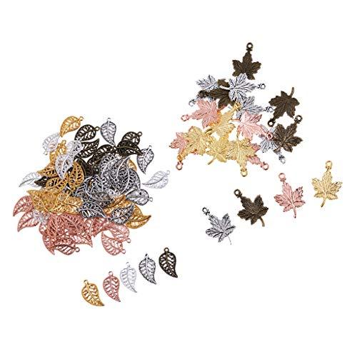freneci 95pcs Surtidos Encantos Espaciadores De Hoja De Arce Perlas Jelwelry Haciendo Fingdings Lote