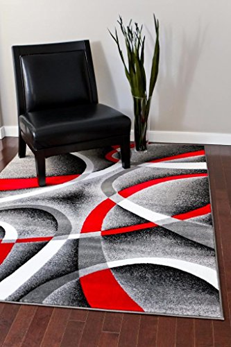 2305 Gray Black Red White Swirlss 3'11 x 5'4 Modern Abstract Area Rug Carpet