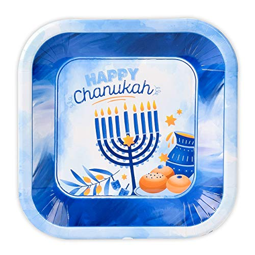Hanukkah Plates - 7 Inch - 10 Pack - Hanukkah Paper Goods - Blue and White Chanukah Themed Party Supplies