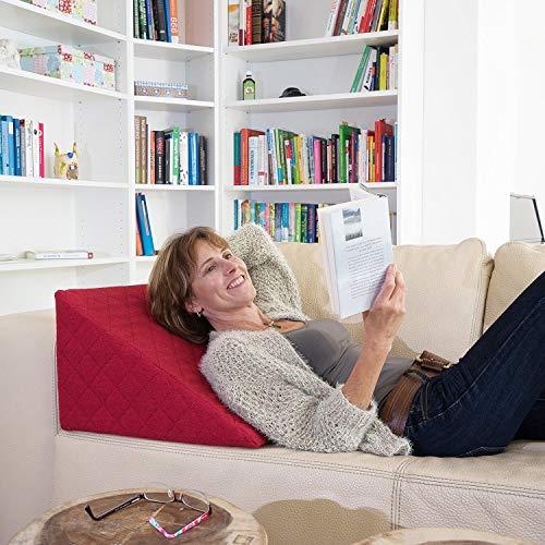 La Almohada Tipo Cuña increíble - para Su Sala De Estar o Su Recamara, Almohada para Leer con Un Sentado Relajado Diseño De Moda (Rojo)