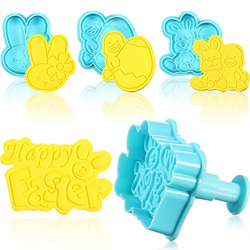 4 Pieces Easter Cookie Cutter Stamps, Egg Bunny and Chick Cookie Stamp Set, Biscuit Mold Baking Tools for DIY Cake Baking Decoration Supplies Favors