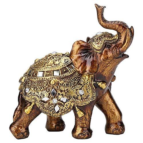 Redxiao Statuetta Decorativa da Tavolo in Resina, Ornamento in Resina a Forma di Elefante Grana del Legno Mobile TV per la casa in Stile Europeo Decorazione Artigianale(Gold M)