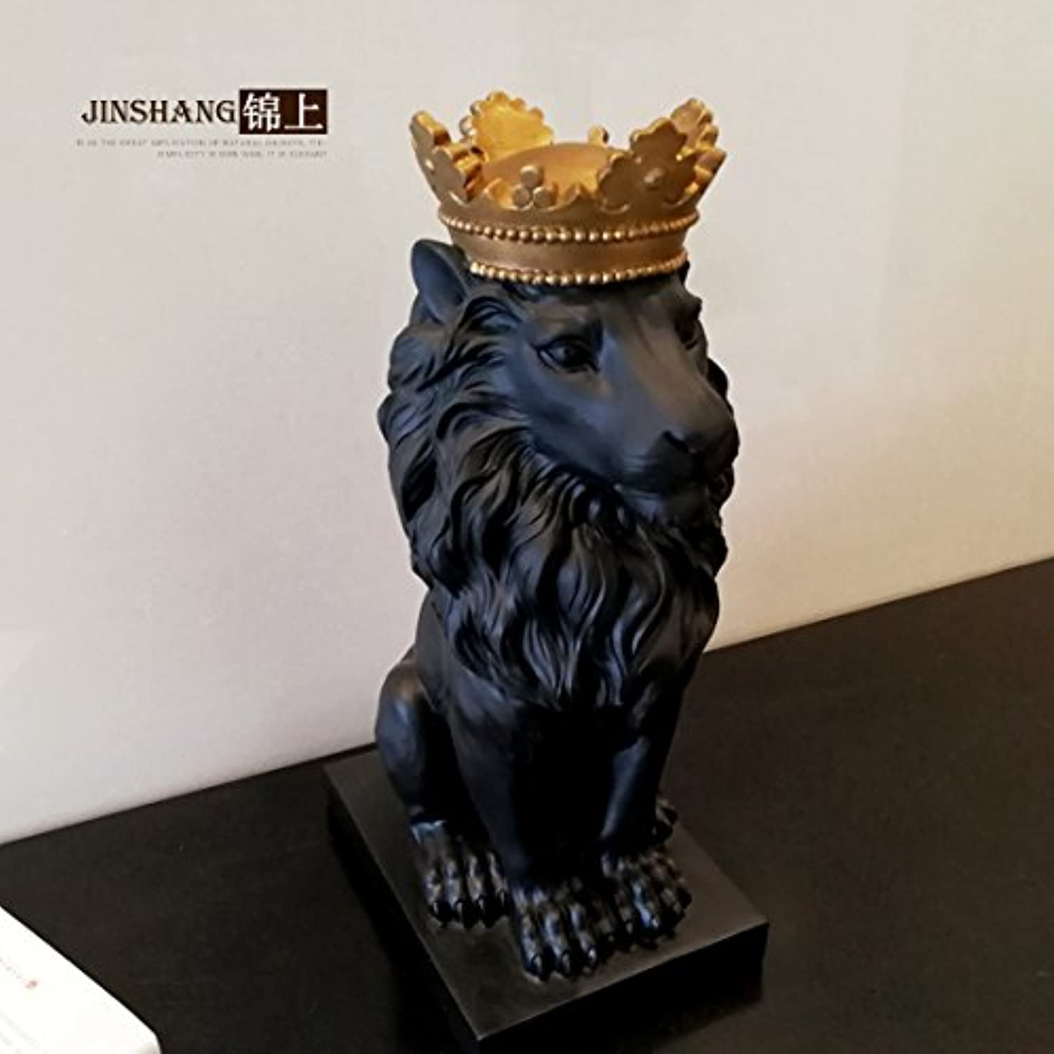 Zamtac Nordic Crown Lion Ornaments Home Accessories Living Room Wine Cabinet Office Desk Model Room Decorations Gifts AP4281612 - (color  Black gold Crown)