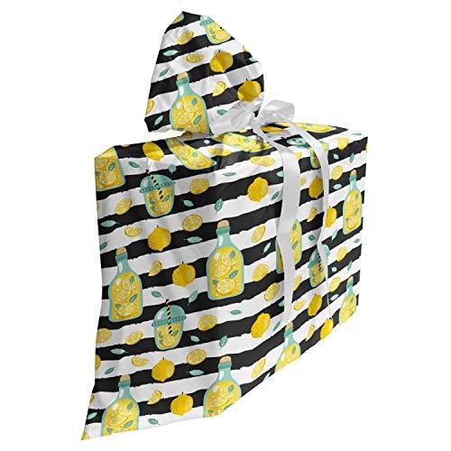 ABAKUHAUS Limonade Cadeautas voor Baby Shower Feestje, Drink in Fles en de Kop, Herbruikbare Stoffen Tas met 3 Linten, 70 cm x 80 cm, Dark Grey White