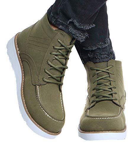 Leif Nelson Herren Schuhe Klassische Stiefel Freizeitschuhe Boots Elegante Winterschuhe Männer Sneakers LN161; 44, Khaki