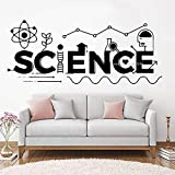 HFWYF Vinyl Dekoration kreative Wissenschaft Logo wandaufkleber in der Schule klassenzimmer wanddekoration Aufkleber abnehmbare Wissenschaft Logo Poster 135 cm x 56 cm