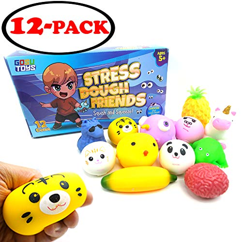 Gosu Toys Stress Dough Friends Soft Stress Balls Stretchy Dough Ball! (12 Pack Box)