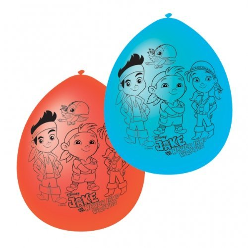 Amscan Lot de 6 ballons en latex Motif Jake et les Pirates du Pays imaginaire