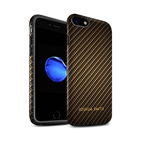 Stuff4 Telefoonhoesje/Cover/Skin/IP-3DTBM / Carbon Fibre Effect Collectie Apple iPhone SE 2020 Gouden stempel