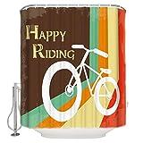 N / A Happy Riding Cartoon Retro Bicicletta Tessuto Tenda da doccia Colorato Arredo bagno Set con ganci Standard