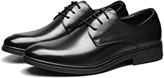 AiHua Huang Business Oxford for Men Formal Wedding Shoes Lace up Genuine Leather Rubber Sole Round Toe Block Heel Solid Color Vegan (Color : Black, Size : 6 UK)