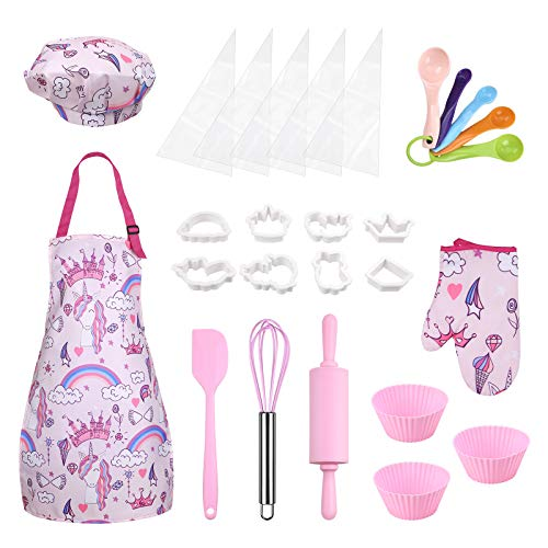 Anpro Complete Kids Cooking and Baking Set - 27 Pcs Includes Aprons for Girls, Chef Hat, Mitt & Utensil to Dress Up Chef Costume Career Role Play for 3-7 Years Girls