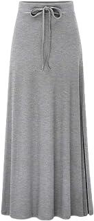 QitunC Women Ladies Maxi Skirt High Waist Skirt Elasticated Waist