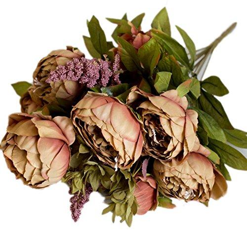 outflower fleurs artificielles pivoine simulation de fleur de pivoine Décoration maison décoration de la mariage, 47 cm, Rose Foncé 47CM marron