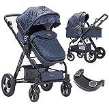 Blahoo Infant Stroller Combo Organizer Newborn Pram Travel System with Four-Wheel Shock Absorption,Cotton Cushion(8002BLUET)