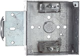 Steel City 52151-MSX Pre-Galvanized Steel Square Box with C-3 Armored Cable Clamps, 4-Inch Box 1-1/2-Inch Deep 21-Cubic Inch