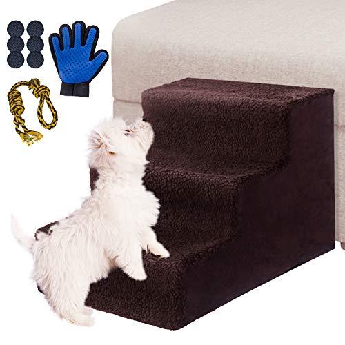 Masthome Escaleras para Perros de 3 Pasos,Rampa para Perro,Escalera de Cama para Gatos,Mascotas,Pequeño Animales,Con 6 Fondo antideslizante y un Guantes para mascotas y un juguete de cuerda para perro