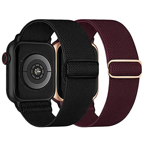 Elastisch Armband Kompatibel mit Apple Watch Armband 38mm 40mm, Dehnbar Verstellbar Solo Loop Nylon Stoff Armband für Apple Watch SE/ iWatch Series 6 5 4 3 2 1, Schwarz/Winerot