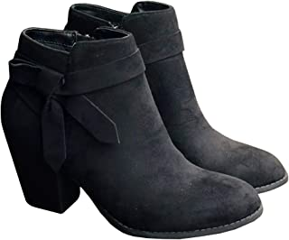 Women's Tie Knot Chelsea Pump Ankle Boots Closed Toe Stacked Heel Booties Shoes