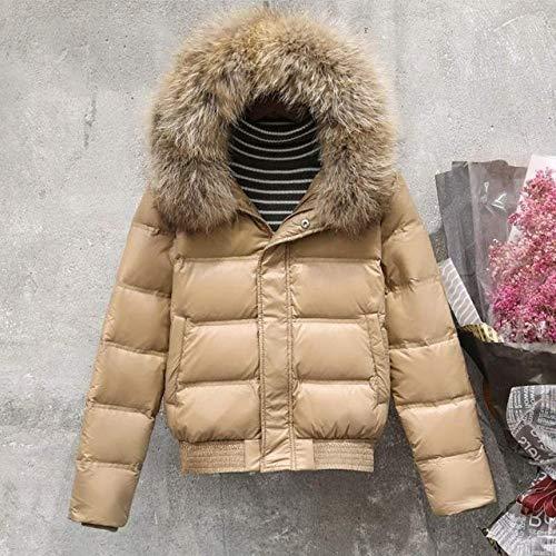 YRFDM Daunenjacke Daunenjacke Damen Kapuze Schlank Weiß Entendaunen Kurz Parkas Mantel Damen Schwarz Khaki Snow Outwear, EchtpelzKhaki, S