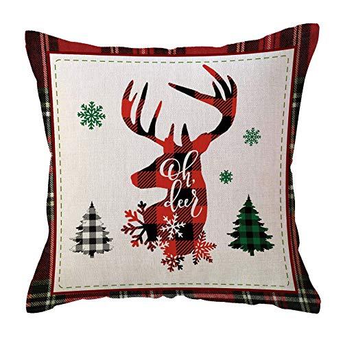 Oh My Deer Fundas de Almohada navideñas Farmhouse Buffalo Check Plaids Fundas de cojín Fundas de Almohada Decorativas de Vacaciones de Invierno 45X45 Cm para sofá Sofá