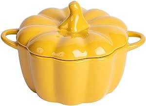 Pumpkin Collectible Vegetable Ceramic Soup Bowl with Lid Lidded Stoneware Harvest Pumpkin Bowl Soup with Handles Tureen Fine Porcelain Pumpkin Box (Color : Yellow, Size : Large)