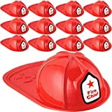 Anapoliz Kids Firefighter Hat   12 Pcs Plastic Fire Hats for Kids   Double Axe Fire Chief Theme Party   Fun, Safe, Soft Firefighter Helmet Costume Dress Up Accessory