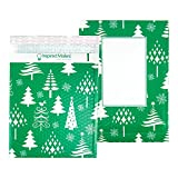 Bubble Mailers 10x13' - Green Christmas Trees (Writable Area) - 25 Pack - Holiday Padded Envelopes 10x13 - Poly Bubble Mailers Padded Mailers - Bubble Envelopes 10x13