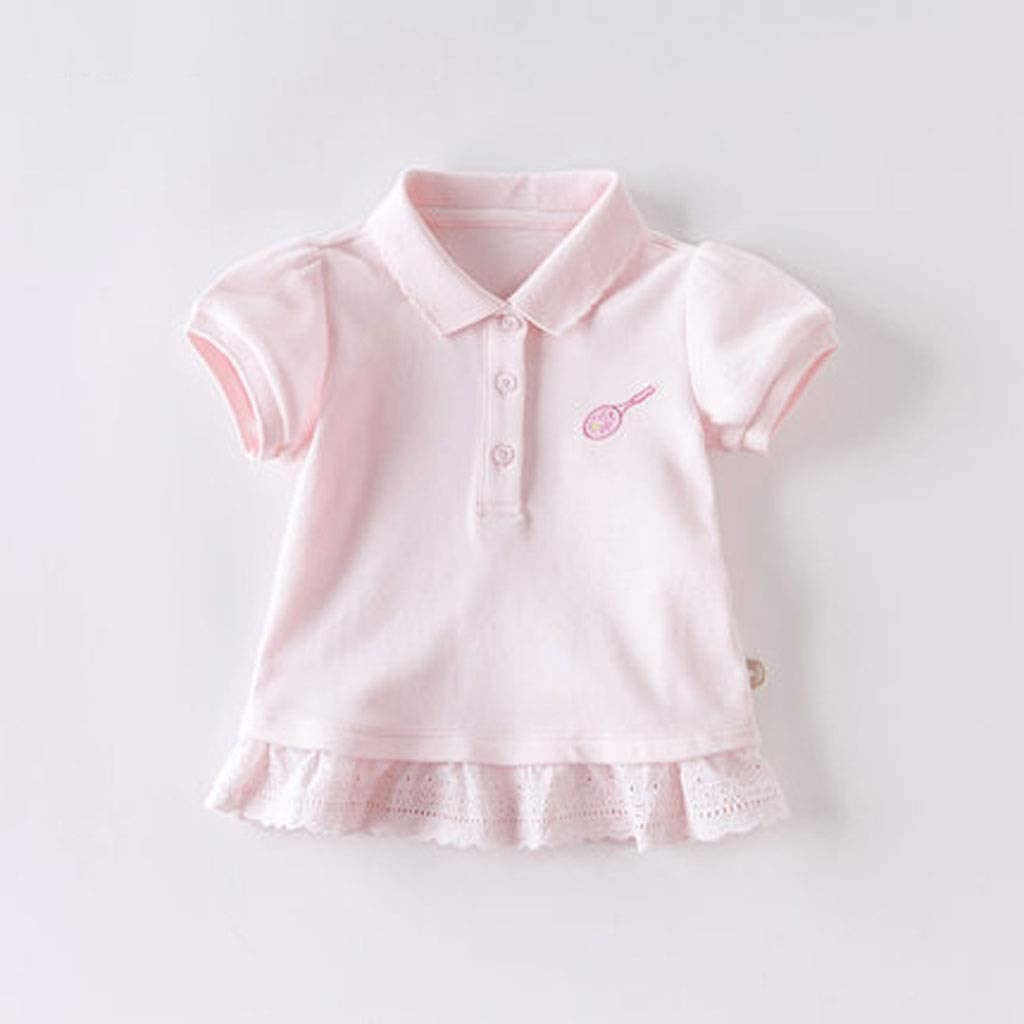 Summer New Girl Short-Sleeved T-Shirt Baby Polo Shirt Short-Sleeved Sports Top Stitching Lace Hook Flower Hem Solid Color Polo Shirt Three Colors Optional Soft (Color : A, Size : 100CM)