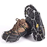 Ice Snow Grips 10 Teeth Stainless Steel Crampons Anti Slip Winter Ice Grippers Spikes Grips Traction Cleats For Walking, Jogging,Hiking and Climbing On Snow And Ice (black)