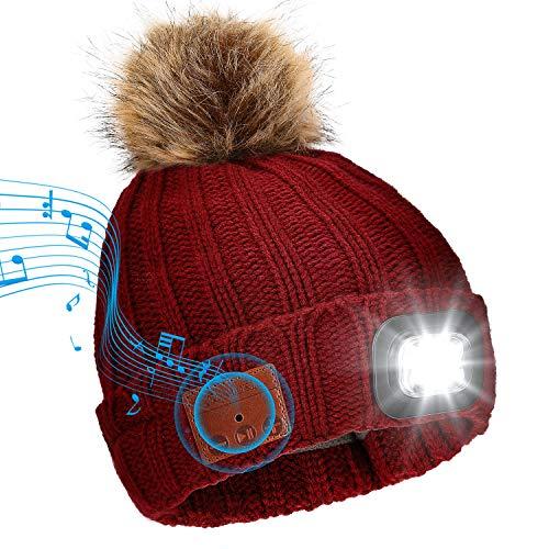 Achort Wintermütze mit Licht Wireless Bluetooth 5.0 Music Mütze 4 LED Hut USB aufladbare Caps für Frauen warme Strickmütze