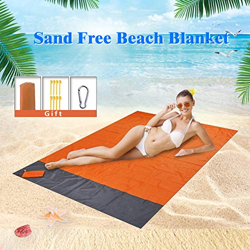 Sand Proof Beach Blanket Sand Free Beach Mat Sandless Picnic Outdoor Mat for 4-7 Adults Waterproof Pocket Blanket Lightweight Quick Drying Heat Resistant with 8 Stakes for Travel Camping Hiking