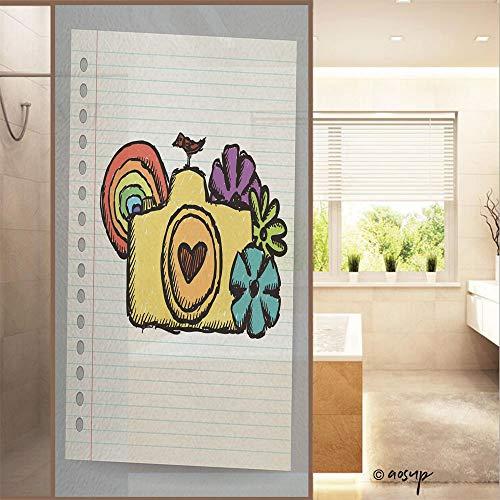 YOLIYANA Decorative Privacy Window Film Hand Drawn Doodle Digital Camera Illustration No Glue Frosted Glass Film Static Cling Glass Window Sticker W23.6 xH47.2 No46857