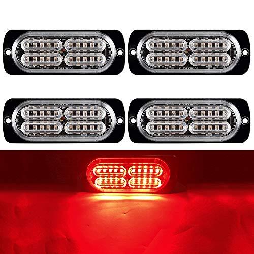 yifengshun 4x 20 Rojo Luz estroboscopica Flash LED Estroboscópica Luz de Luces de Advertencia 12-24V Camion Luces para Remolque Furgoneta