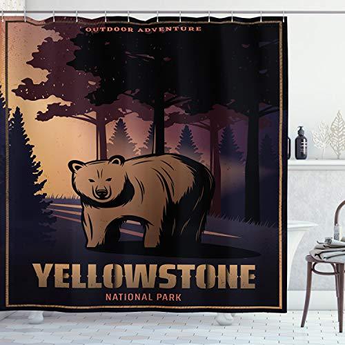 ABAKUHAUS Wyoming Douchegordijn, Bear in Yellowstone Bos, stoffen badkamerdecoratieset met haakjes, 175 x 200 cm, Veelkleurig
