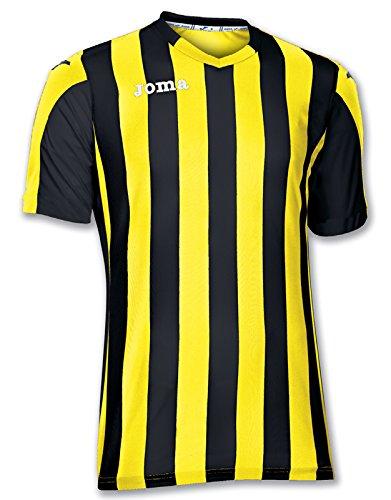 Joma Copa Camiseta de Equipación de Manga Corta, Hombre, Amarillo/Negro, L