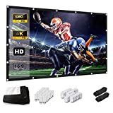 Projector Screen, Keenstone 120 Inch Projection Screen 4K 16:9 HD Foldable Wrinkle-Free...