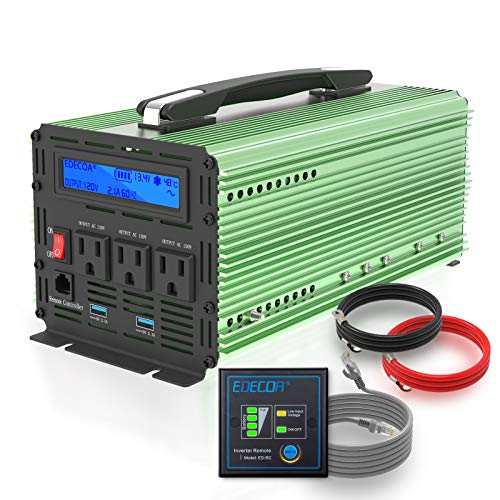 EDECOA Pure Sine Wave Power Inverter 1000 Watt DC 12V to 110V AC 120V Car Converter with 4.2A Dual USB Ports