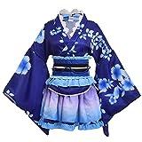 Ensemble de kimono Lolita sakura Déguisement fête de retrouvailles Costumes de Cosplay Kimonos traditionnels Tissu bleu ciel étoilé Livraison gratuite