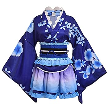 GRACEART Japanese Yukata Kimono Costume Anime Cosplay Robe  Blue