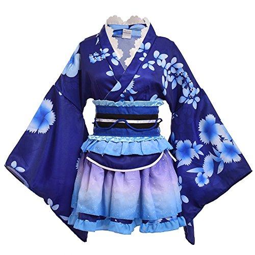 GRACEART Yukata Kimono Kostüm Set (Blau)