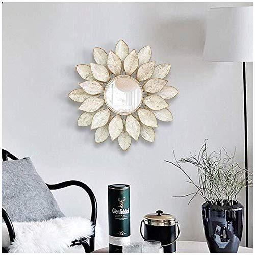 Creatieve decoratieve spiegel Decorative Wall Mirror, Living, eetkamer, Hal Veranda Opknoping Mirror, Ronde Metalen bladvorm Grote Decorative Wall Mirror Wandgemonteerde grondspiegel (Size : 70cm)