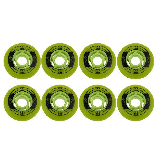 perfeclan 8pcs Inline Skate Ersatzrollen Rollschuhe Rollen Set - Grün, 76mm