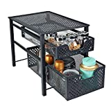 Stackable 2 Tier Organizer Baskets with Mesh Sliding Drawers, Ideal Cabinet, Countertop, Pantry, Under the Sink, and Desktop Organizer for Bathroom,Kitchen, Office.