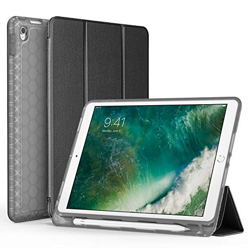 """SWEES Compatible with iPad Air (3rd Gen) 10.5"""" 2019 / iPad Pro 10.5 2017 Case, Slim Full Body Protective Smart Cover Leather Case Shockproof with Stand Built-in Pencil Holder, Black"""